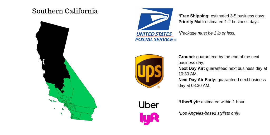 Southern California Shipping Option from united states postal service, ups, uber and lyft