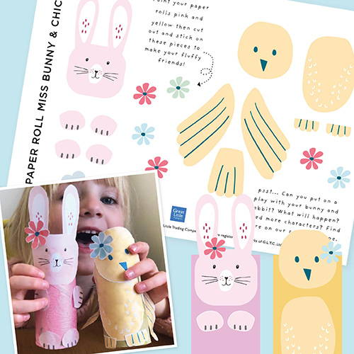 Bunny and chick paper designs