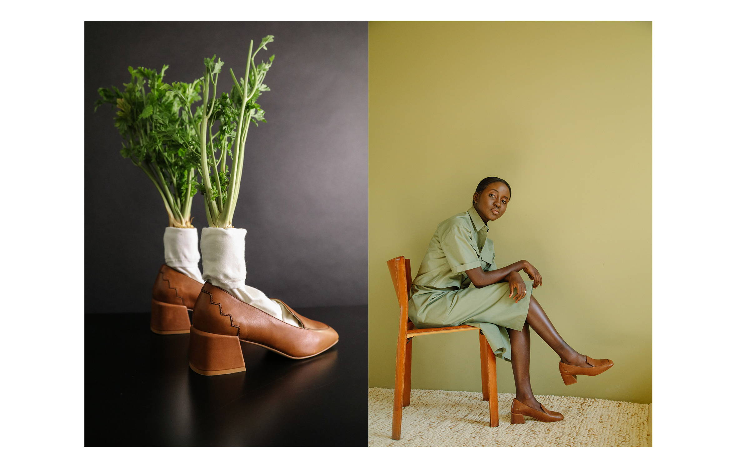 Marlene loafer in cognac vegetable tanned leather styled with socks and parsnips next to a model seated sideways in a chair wearing olive green and the sustainable Marlene mid-heel loafer