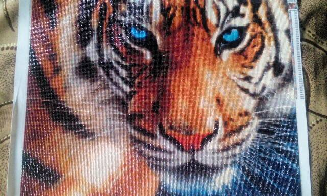 diamond painting of a tiger's face