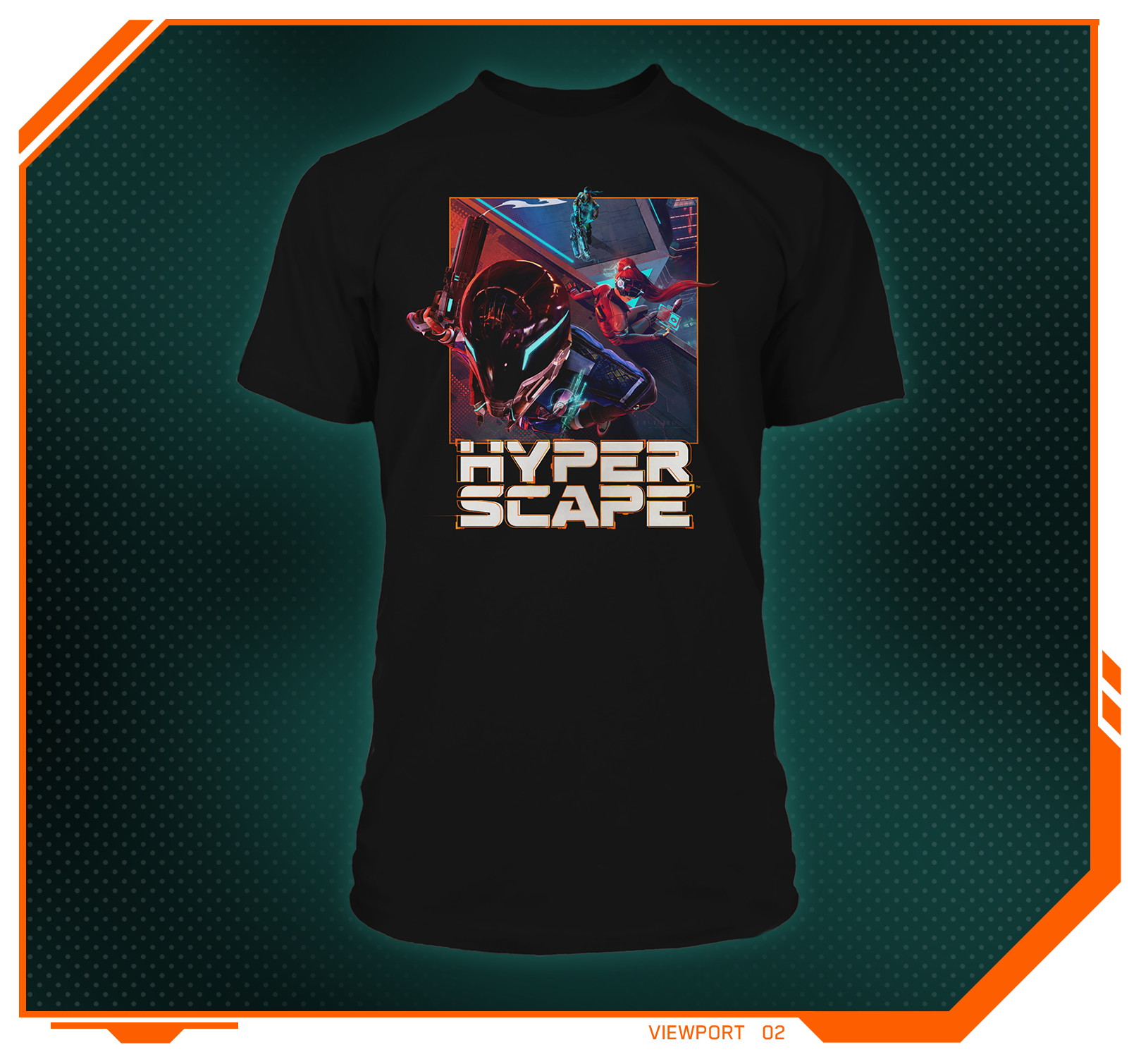 Stylized product image of the Hyper Scape Rooftop Team Up Men's Tee