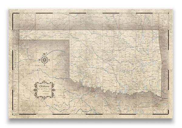 Oklahoma Push pin travel map rustic vintage