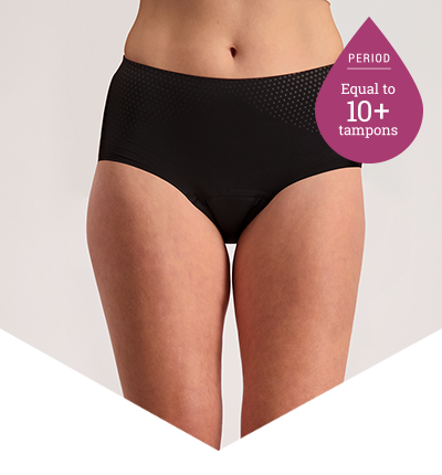 Heavy Period Panties - 10+ Tampons Worth - Full Brief Extra Black - Just'nCase by Confitex