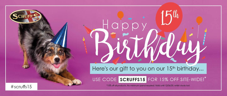 15% off for Scruffs 15th Birthday