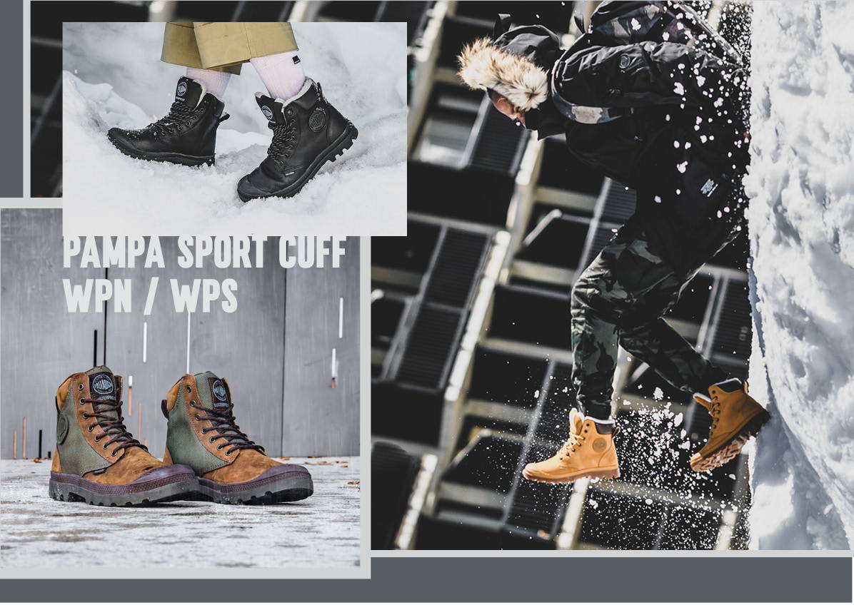 Image shows the collage on Pampa Sport Cuff WPN boots in different colors