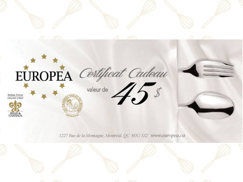certificat cadeau europea