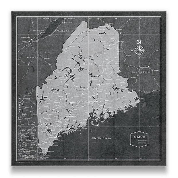 Maine Push pin travel map modern slate