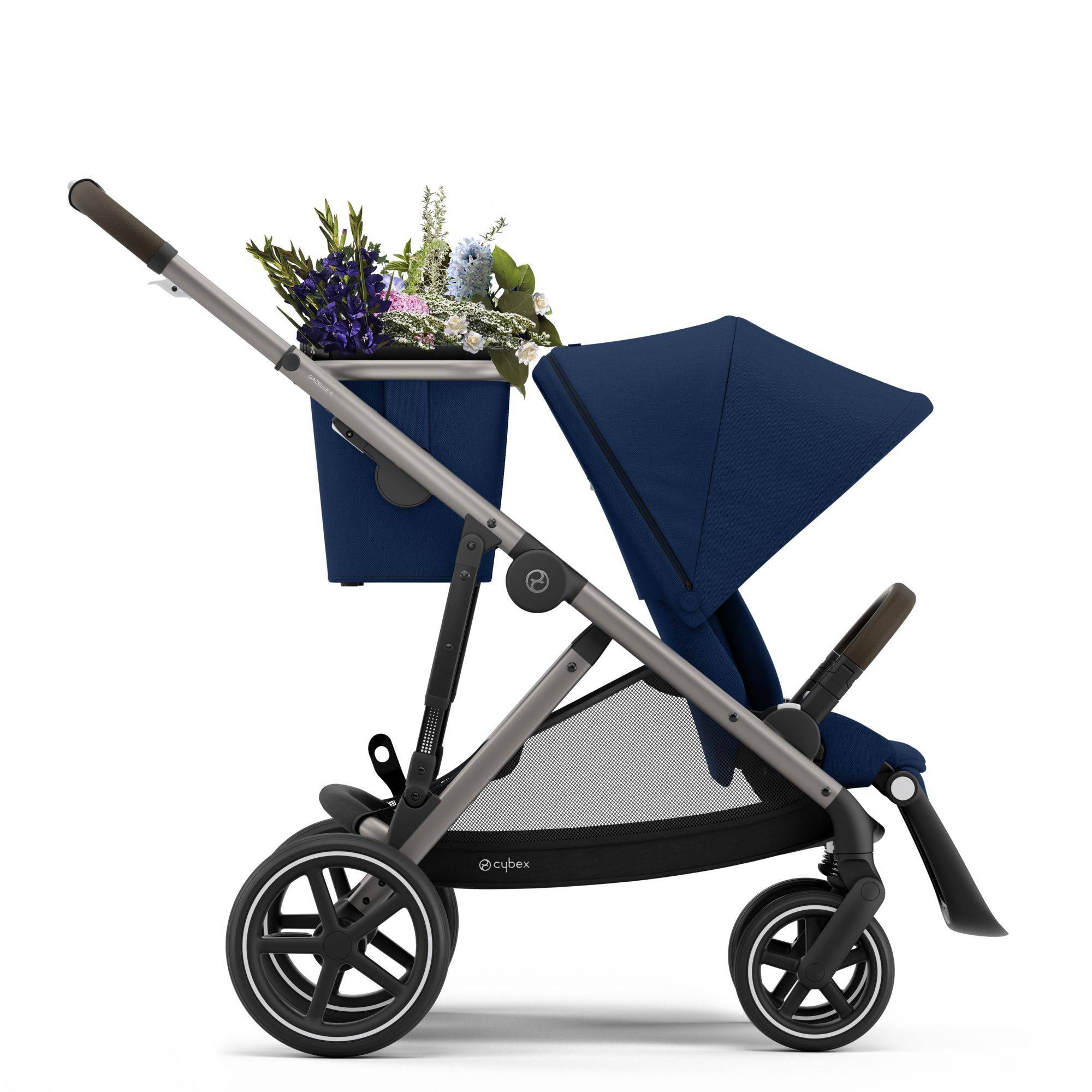 the Cybex Gazelle S stroller with top basket, flowers in basket, shop Kidsland