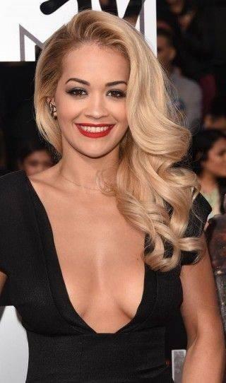 Rita Ora with side sweep hair