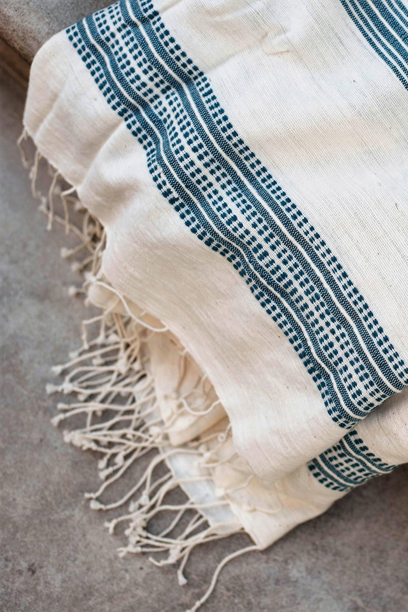 TANA ETHIOPIAN TOWEL - TEAL $ 75