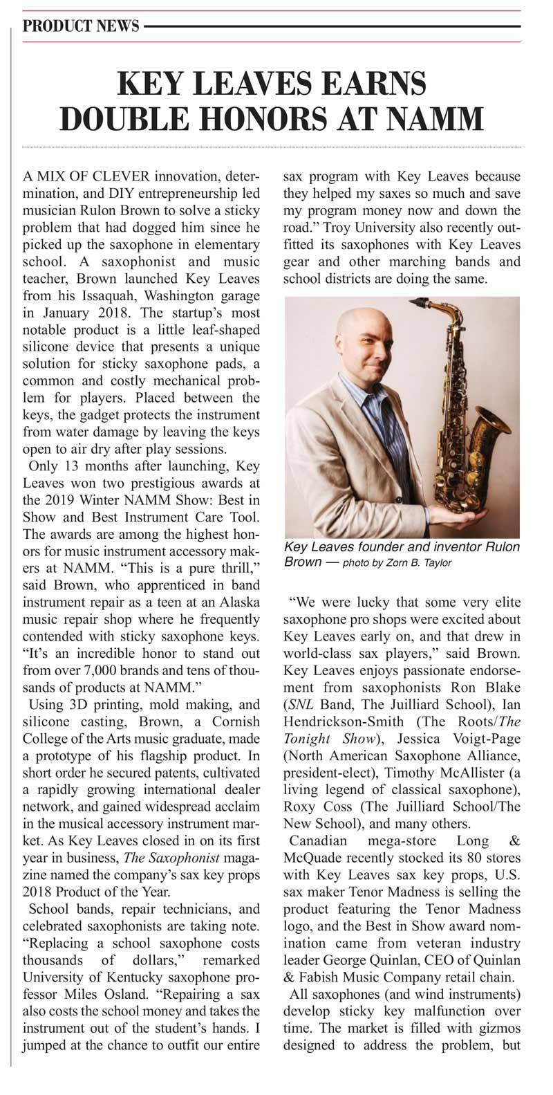 Key Leaves saxophone cleaning products featured in Music Trades Magazine