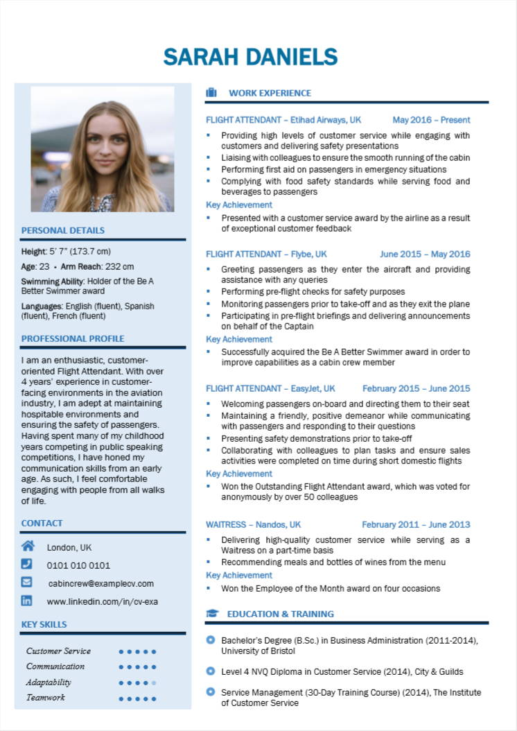 How To Write A Cabin Crew Flight Attendant Cv Resume With