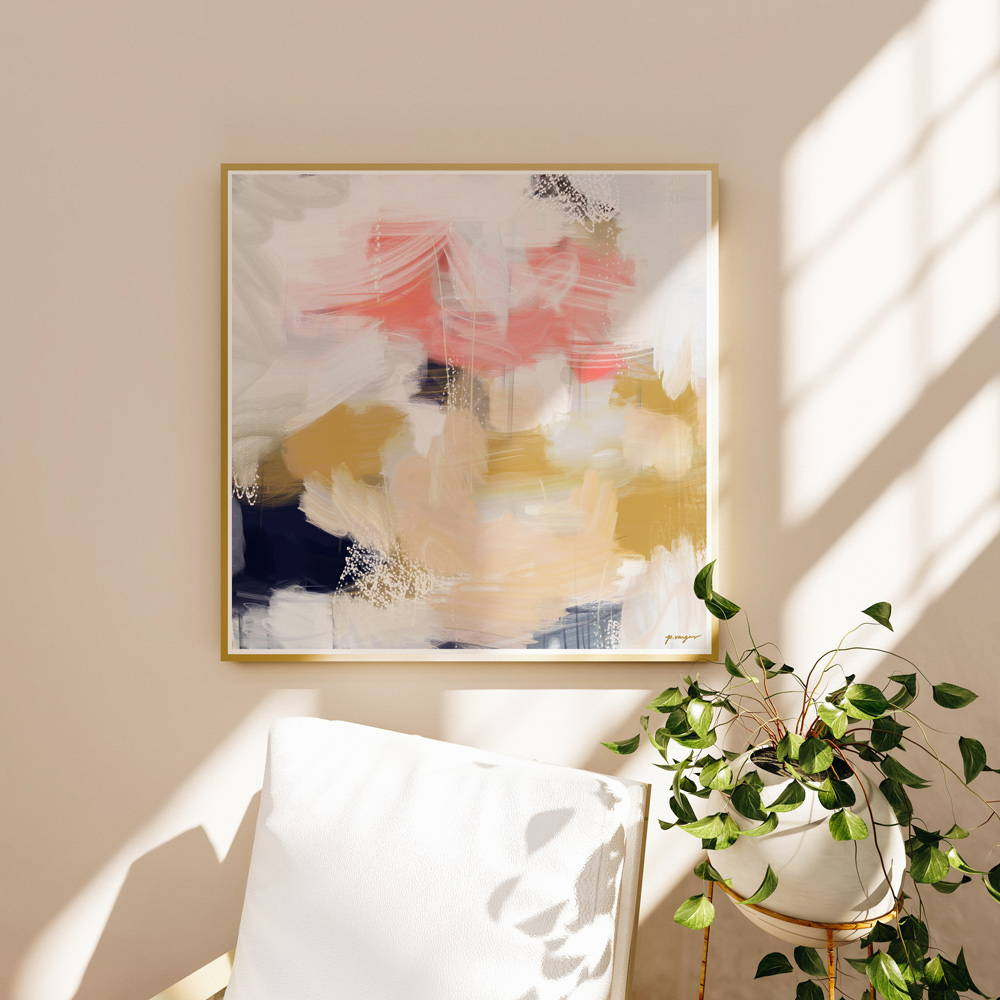 Navy blue and pink abstract wall art for bedroom corner. Emmi - square art print by Parima Studio