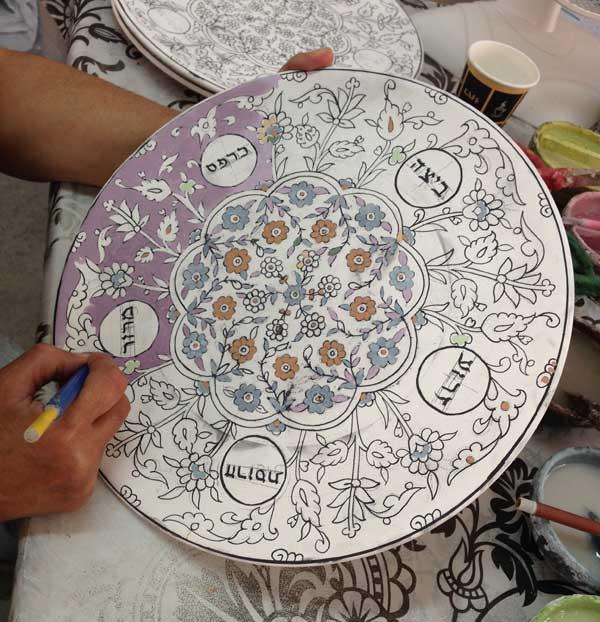 Ceramic seder plate, hand painted