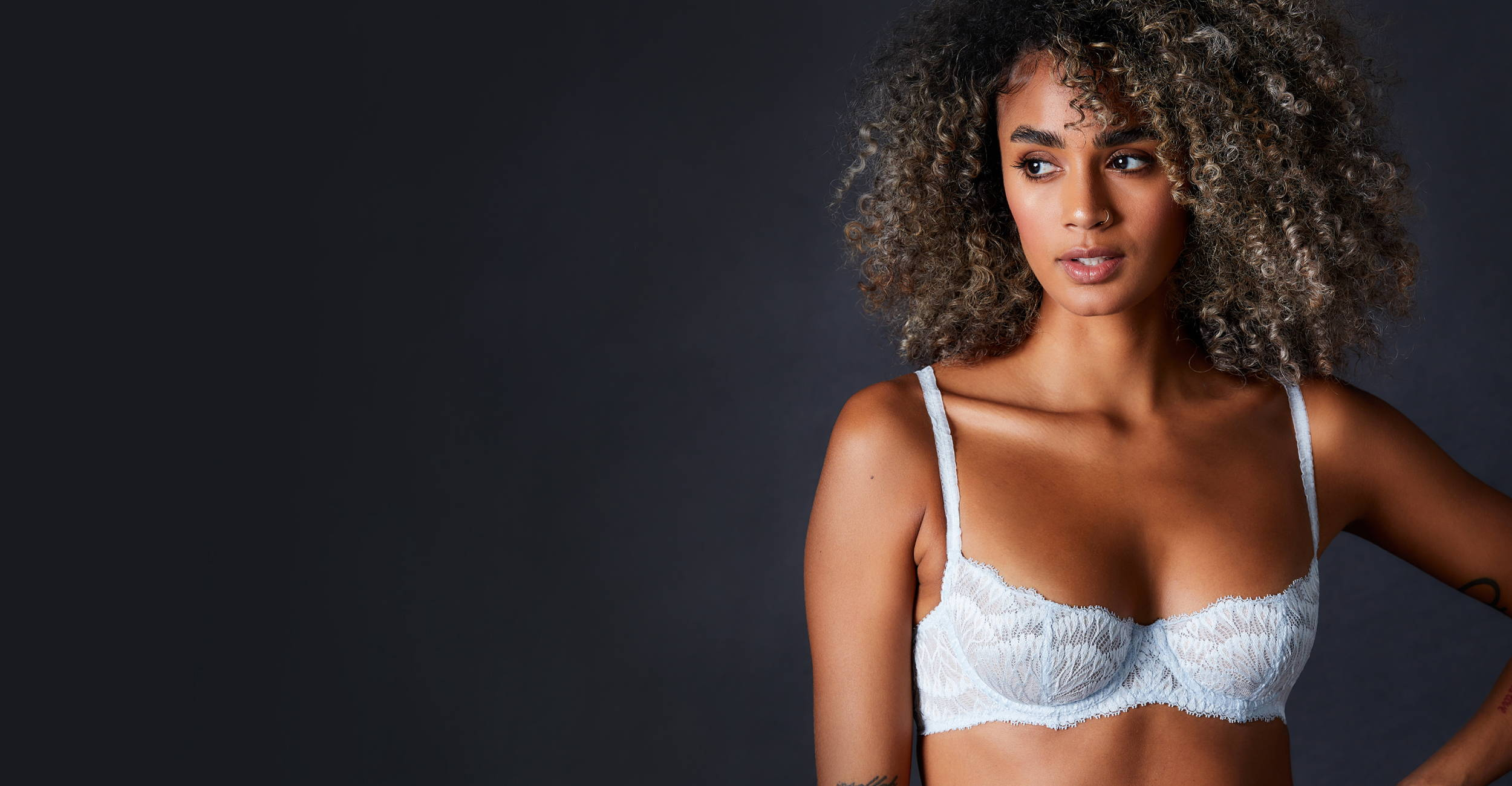 Female model wearing the Journelle Collection Loulou Balconette Bra