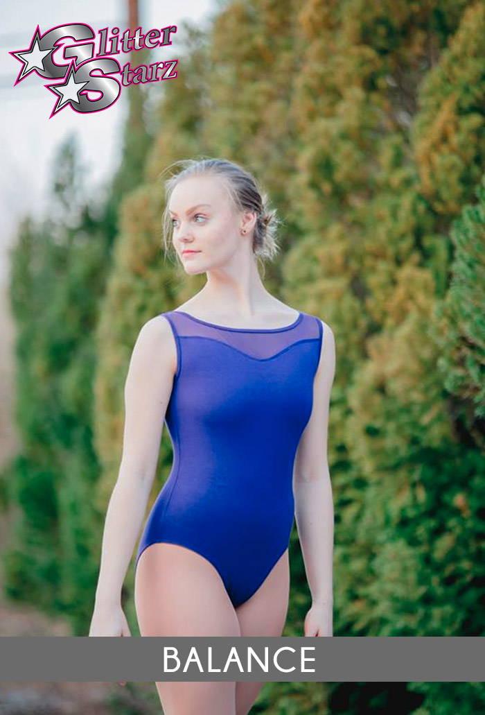 balance leotard purple blue mesh dance practicewear glitterstarz