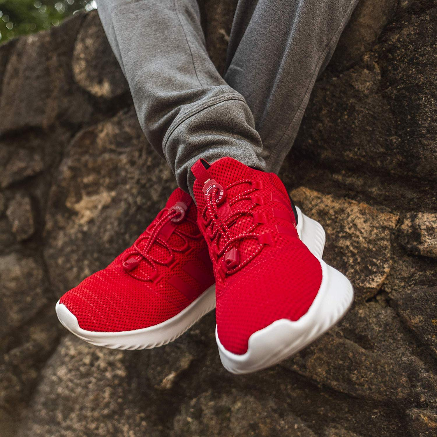 bright red shoes with red elastic lock laces