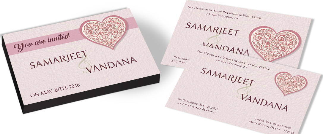 Wedding Invitations Hearts Theme