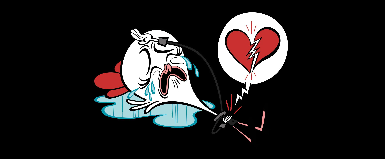 illustrated heartbroken character