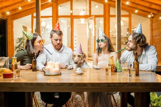 A group of people sit at a table with party hats on celebrating the dogs birthday