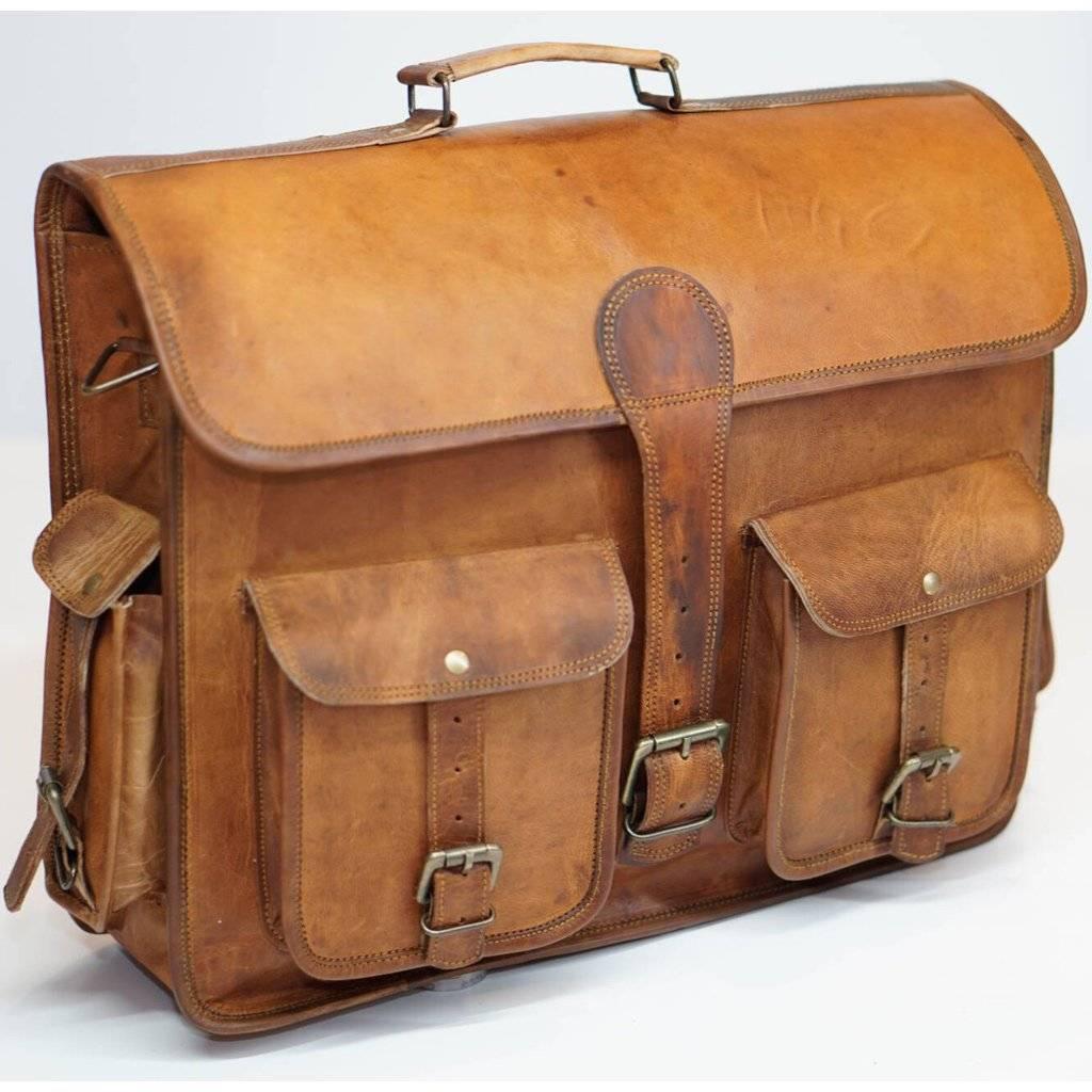 Men's Leather Laptop Bag - Briefcase Messenger Bag Full Grain Leather