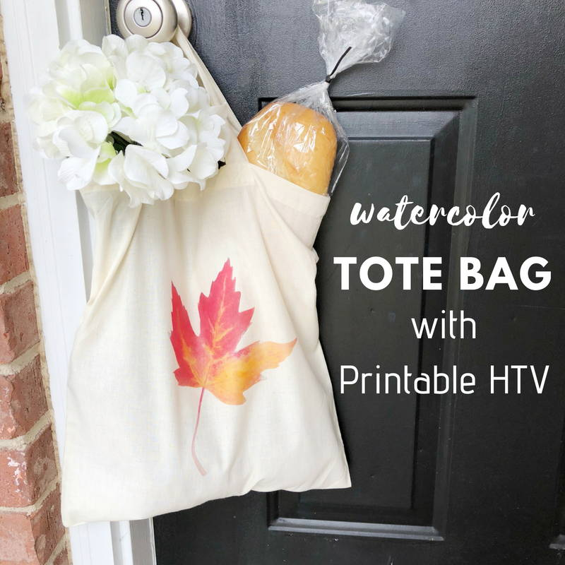 image regarding How to Use Printable Heat Transfer Vinyl titled Do it yourself Watercolor Tote Bag with Printable Warm Go Vinyl