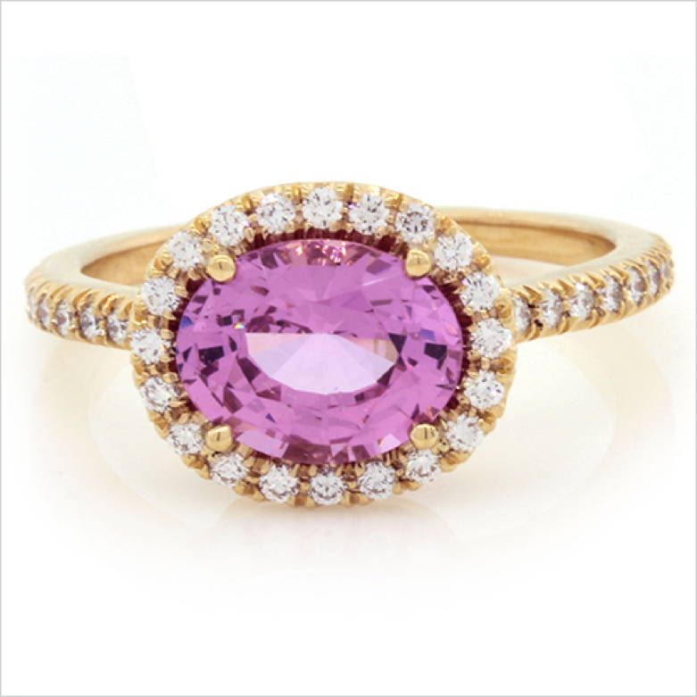 Oval Pink Spinel and Diamond Ring