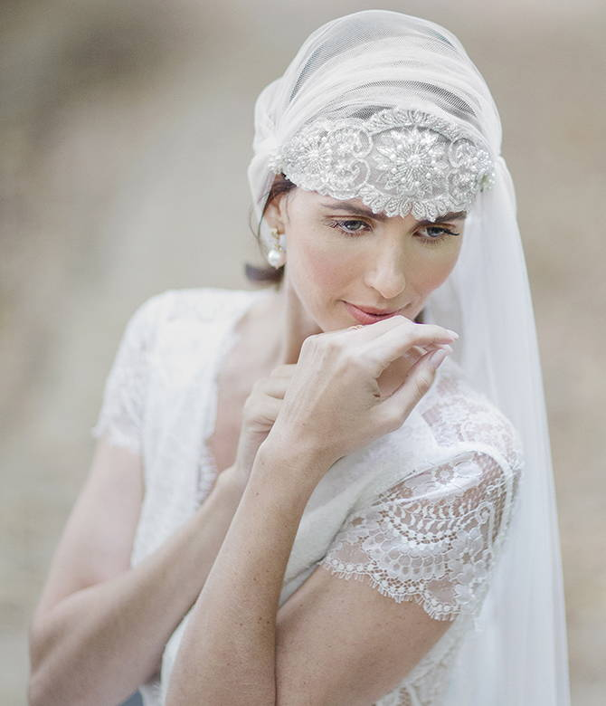 Long veils from She Wore Flowers. Shop wedding accessories from She Wore Flowers.