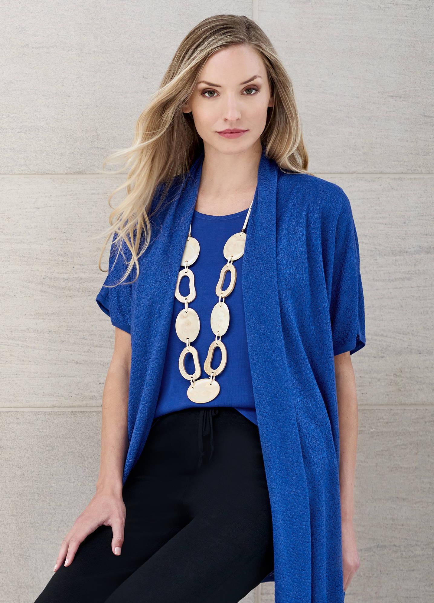 Relaxed Drape Knit Cardigan and Coordinating Classic Knit Tank Top in Blue Flame