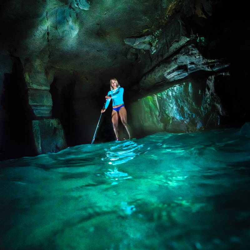 Rugged and durable FoxFury Nomad Production Lights set up in a sea cave photography shoot