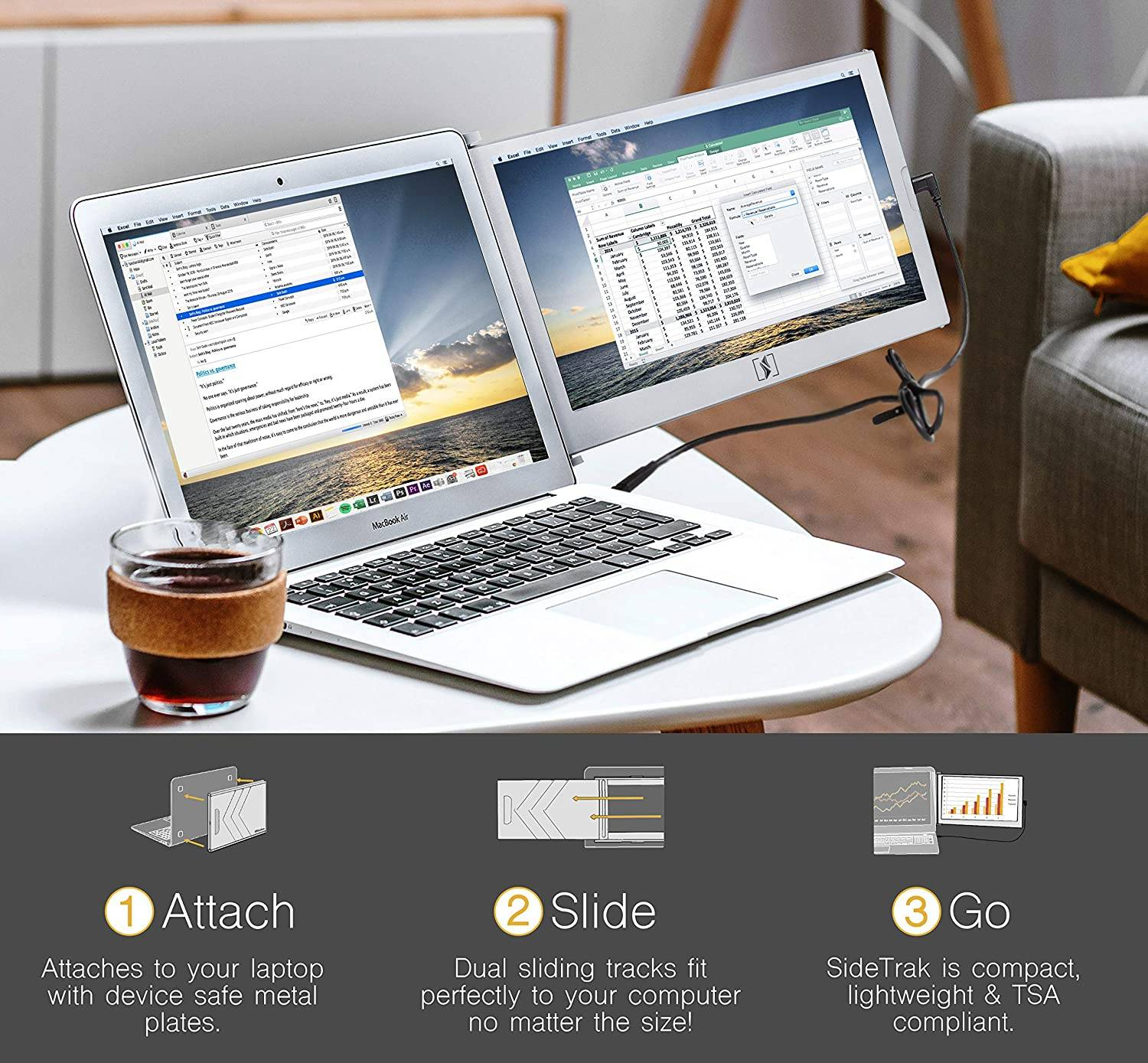 Attach, slide and go with SideTrak laptop dual monitor