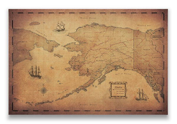 Alaska Push pin travel map golden aged