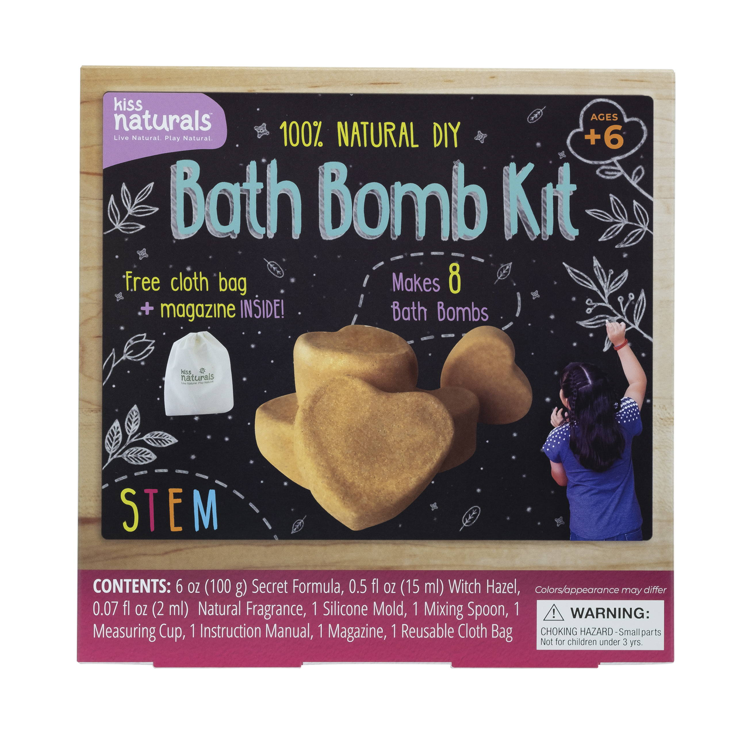 Bath Bomb Kit, 100% natural. Comes with reusable bag and furoshiki cloth. Makes 8 bath bombs.