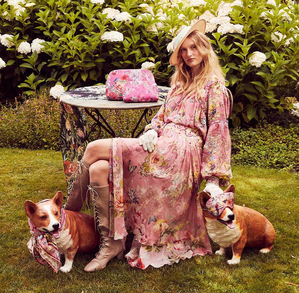 CAMILLA pink floral skirt, CAMILLA pink floral clutch, CAMILLA pink floral blouse, camilla pink skirt