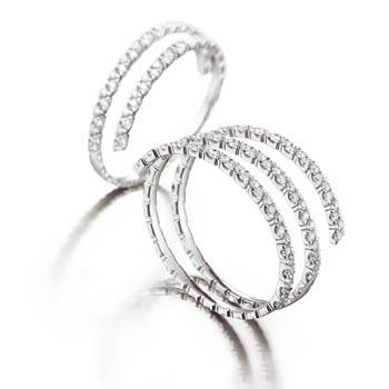 Diamond and platinum bangle bracelets