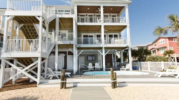 Outdoor TV enclosure at Beach House for corrosion and salt water air defense