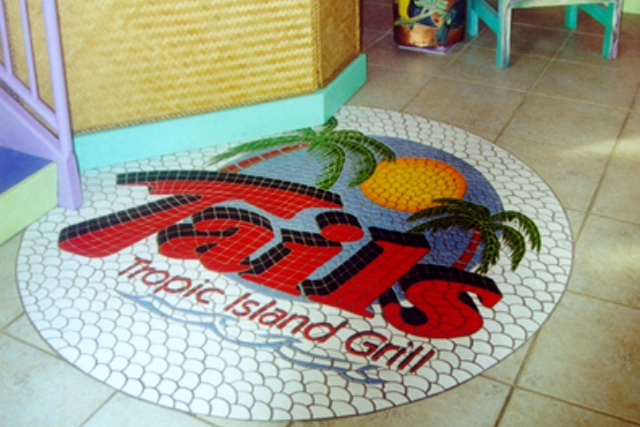 traditional hand-painted ceramic custom mosaic - tails retaurant logo