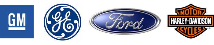 ABB, Ford Motor, General Electric, General Motors, Harley-Davidson