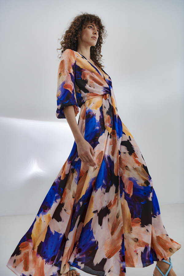 Galvan London Blue and Orange Satin Maxi Skirt