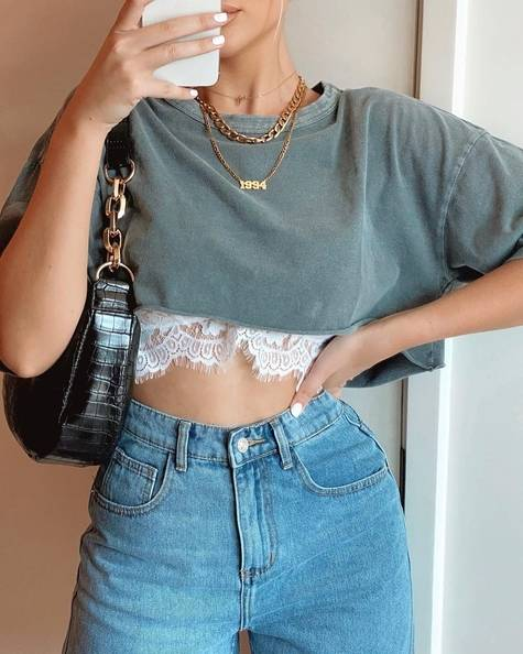 oversized cropped t with lace top underneath