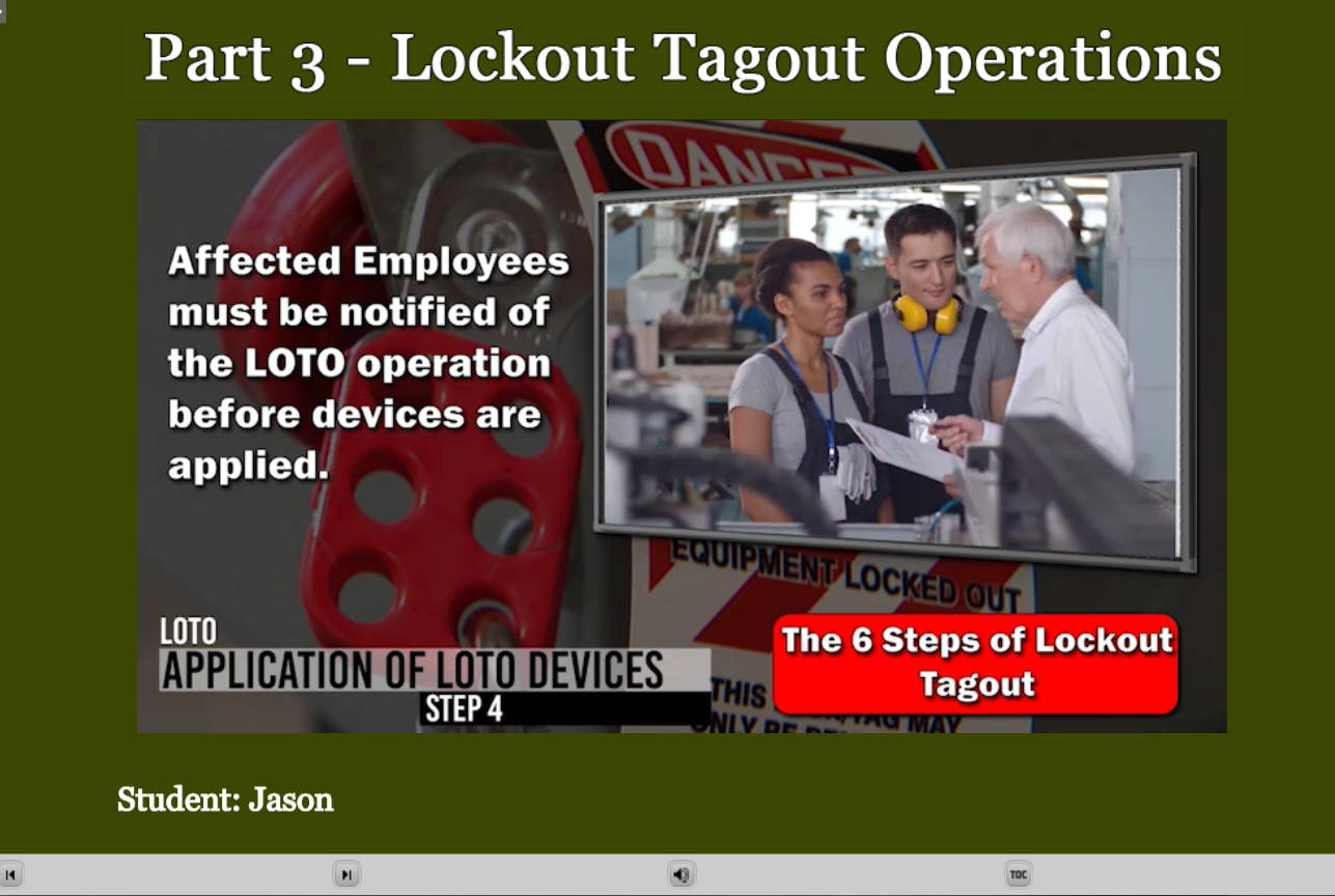 Lockout Tagout Operations E-Learning Lesson