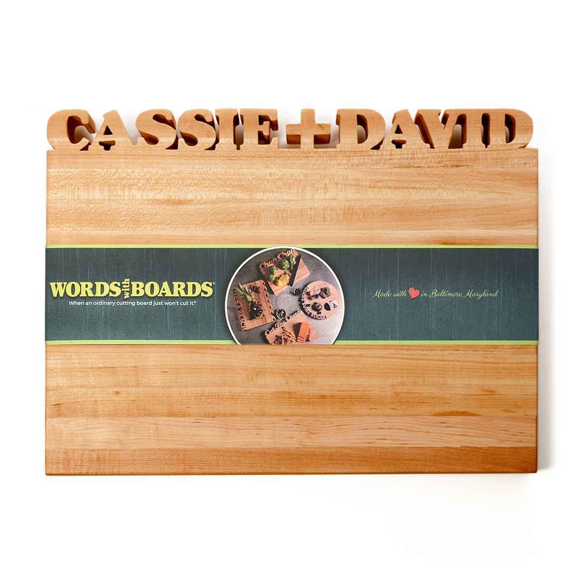 Personalized wood cutting board boar couples