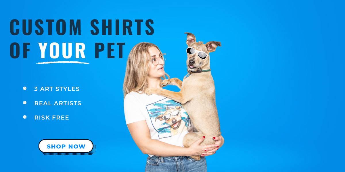 woman holding dog with custom pop art shirt