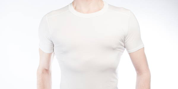 man wearing a crew neck undershirt