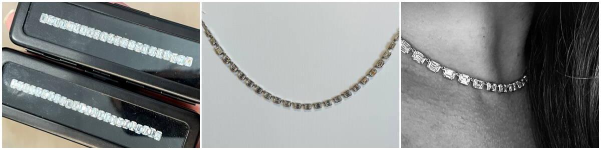 custom emerald cut diamond necklace