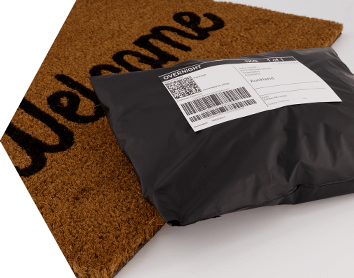 Package dropped on a doormat