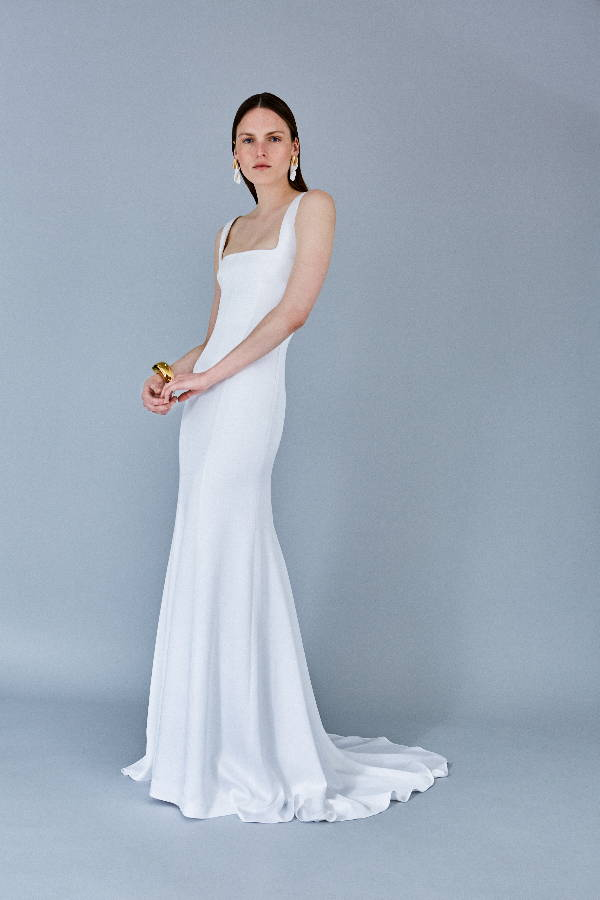 Galvan London Bustier Satin Bridal Dress With Train