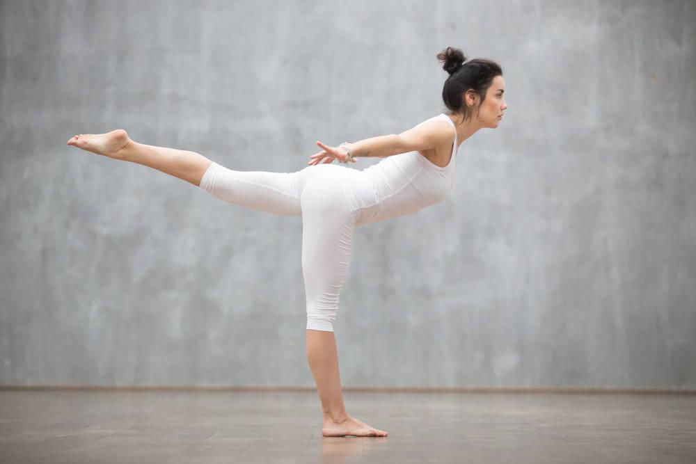 Yoga warrior three pose strengthen core flat tummy