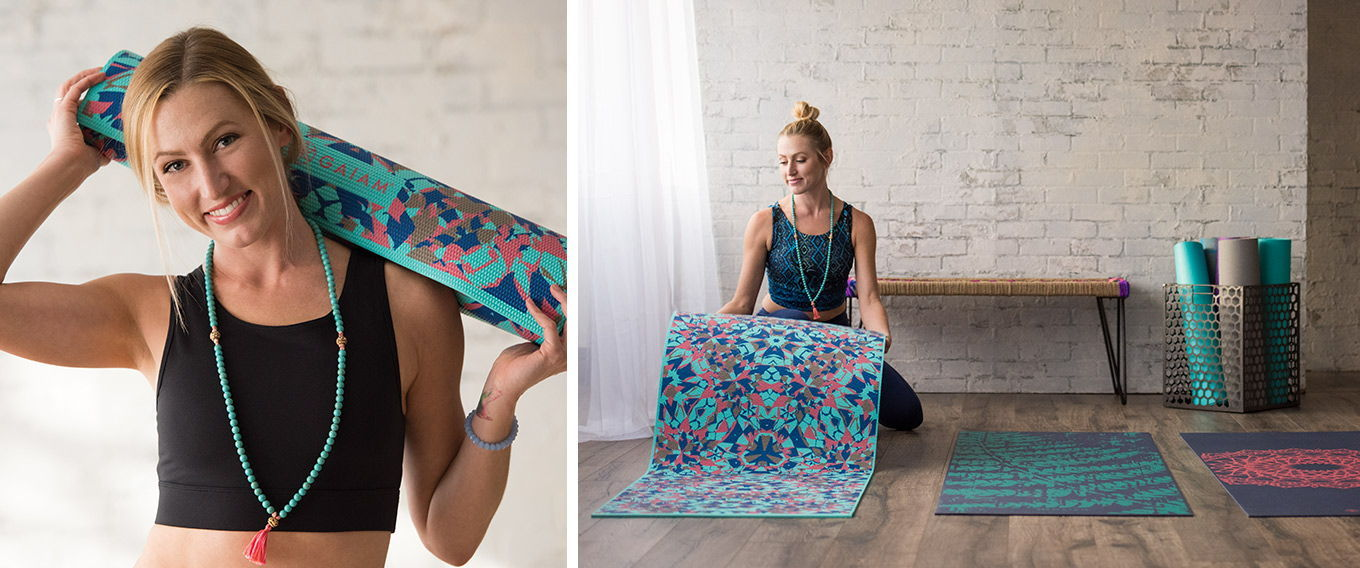 Printed, solid and textured yoga mats from Gaiam