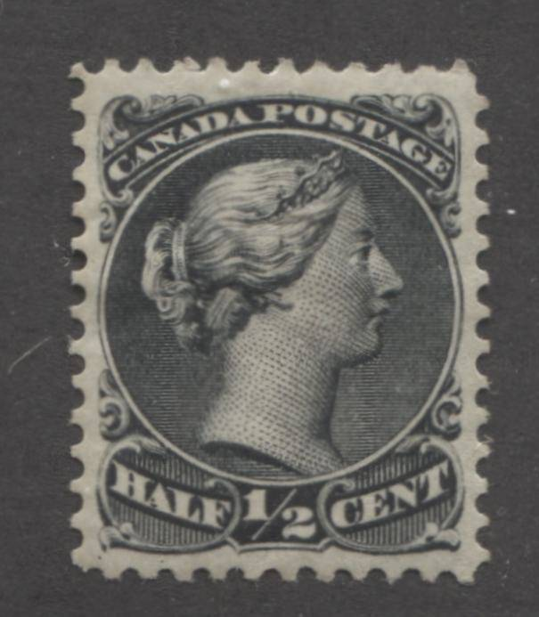 The 1/2c black Queen Victoria stamp from the Large Queen issue of Canada